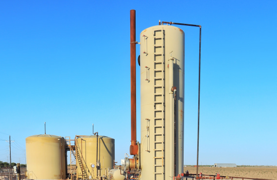 Onshore oil and gas operations use heater treaters to separate crude oil and gas from water and other materials.
